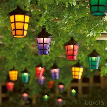 40 Led Coloured Lantern Garden Light Lamp Festive Outdoor String