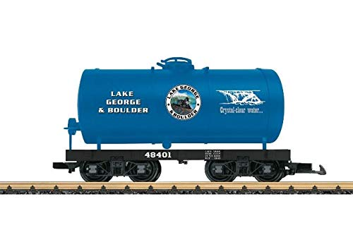 LGB G SCALE TANK CAR - READY TO RUN -- LAKE GEORGE & BOULDER (BLUE, BLACK) 48401
