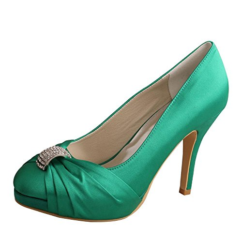 Wedopus MW643 Women's Punmps Round Toe High Heel Rhinestone Satin Wedding Party Bridal Shoes Green my58DJ77t8
