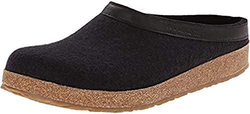 - HAFLINGER Unisex GZL Leather Trim Grizzly Clog (39 M EU, Black)