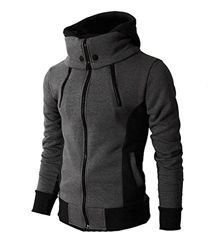LOCALMODE Men's Double Zipper Hooded Jacket Turtleneck Fleece Hoodie Coat