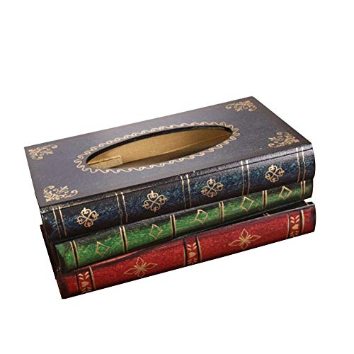 - Dreamys Tissue Box Cover Rectangular Paper Holder Napkin Cover Dispenser Book Vintage Design Easy Refillable Tissue Holder (Blue)
