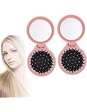 Jieddey Haarborstel met spiegel, 2 stuks, opvouwbare vouwbare haarborstels voor op reis, compacte opvouwbare haarborstel, ronde haarborstels, inklapbare reisspiegel, voor vrouwen en meisjes, roze