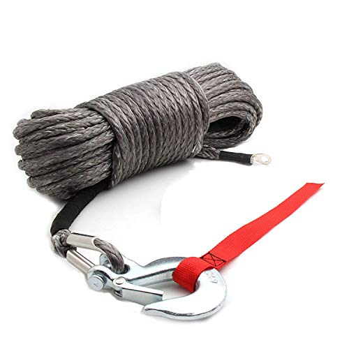 AC-DK Synthetic Winch Rope with Hook Grey Color - Size 3/16