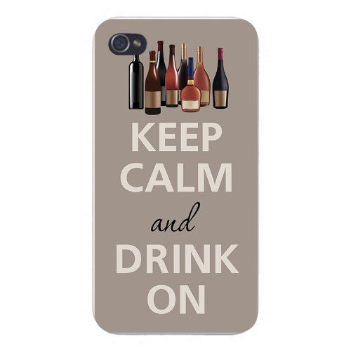 Apple Iphone Custom Case 5 5s AND SE Snap on - Keep Calm and Drink On w/ Liquor Cabinet Wines & Hard Liquor Bottles