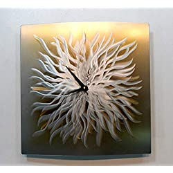 Statements2000 Abstract Gold and Silver Etched Metallic Hand-Crafted Wall Clock - Modern Contemporary Functional Home Decor Wall Art - Golden Burst by Jon Allen - 18-inch