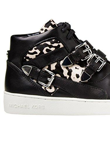 MICHAEL MICHAEL KORS ROBIN HIGH TOP SNEAKER 43T4ROFE5H LEATHER sneaker donna in pelle - Nero, EUR 35