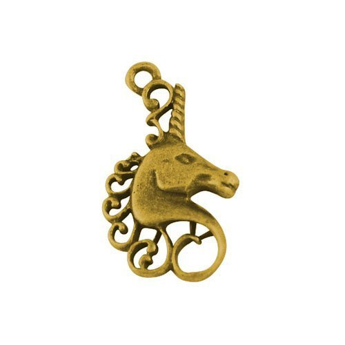 Paquet 10 x Or Antique Tibétain 27mm Breloques Pendentif (Licorne) - (ZX01360) - Charming Beads