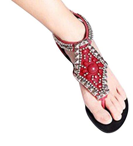 NiSeng Women Summer Bohemian Rhinestone Beaded Sandal Flat Beach Thong Sandals T-Strap Clip Toe Sandals Red d4gQn3fjJy
