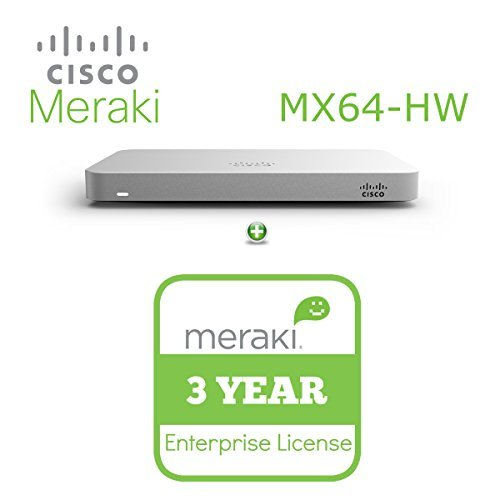 Cisco Meraki MX64 Small Branch Security Appliance Bundle, 200Mbps FW, 5xGbE Ports – Includes 3 Years Enterprise License