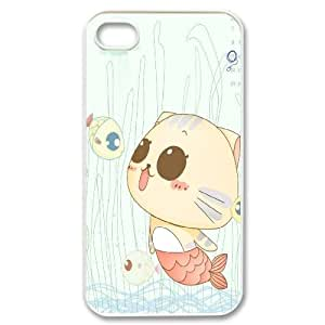 DIY cat & fish Phone Case, DIY Shell Case for iphone 4,4s with cat & fish (Pattern-3)