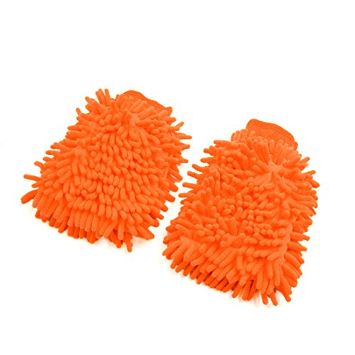 uxcell 2Pcs Orange Dual Sided Long Microfiber Chenille Mitt Car Washing Cleaning Glove by uxcell