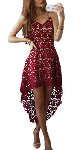 Sexy Low Jaycargogo Evening Party Wine Hem Dresses Women's V Cocktail Strap Neck Red Lace High 55Uw0rq
