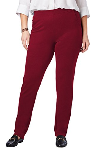 Woman Within Plus Size Petite Straight Leg Ponte Knit Pant - Rich Burgundy, 18 WP