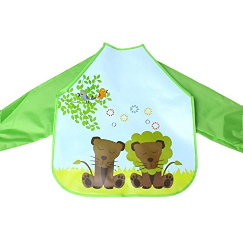 Baby Long Sleeve Art Smock Bib Waterproof Apron (Elephant) (Pink) - 6