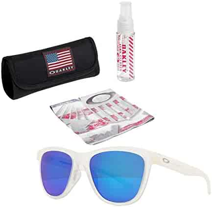 ddb57f2b5c1 Oakley Moonlighter Sunglasses (Frost Frame Sapphire Iridium Lens) with USA  Flag Lens Cleaning