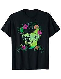 Skull + Flowers, Halloween T-shirt in Pink, Orange + Green