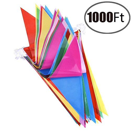 600pcs Multicolor Pennant Banner Bunting Flags 1000 Ft for Festival Party Celebration Events and Backyard Picnics Nylon Fabric Decorations Flags (600pcs)