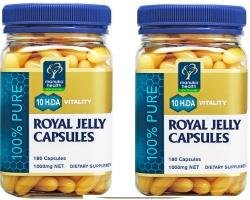 Manuka Health 10hda Royal Jelly 1000mg 180 Capsules 100% Pure New Zealand Royal Jelly Immune System Booster & Supports Skin Health & Vitality (Pack of 2) by Manuka Health