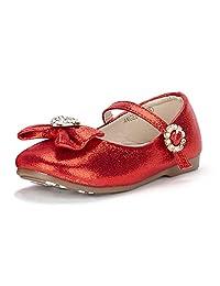 DREAM PAIRS ANGELS Mary Jane Bow Rhinestone/Pearls Embelishment Throughout Easy Walk Ballerina Flat