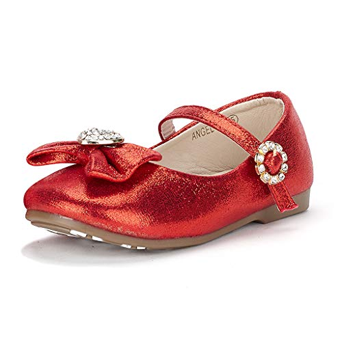 Dream Pairs ANGEL-22 Mary Jane Front Bow Heart Rhinestone Buckle Ballerina Flat (Toddler/ Little Girl) New, Red, 6 M US Toddler -