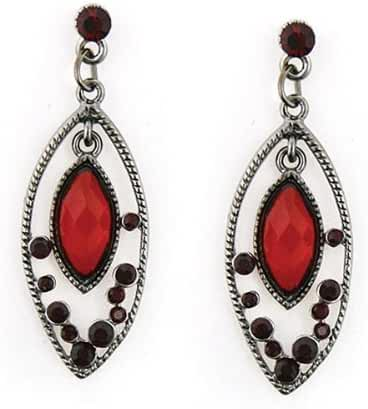 1928 Jewelry Rojo Hematite Tone Siam Red Marquise Frame Earrings