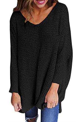 HHGKED Womens Pullover Sweaters Oversized V Neck Loose Long Batwing Sleeve Knit Jumper Tops