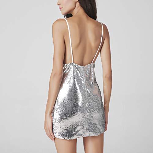 Bianco Scollo Mini Senza A Lingerie Maniche Glitter Abito Donna A Partito Notte Paillettes Dragon868 V Sexy Dress line Vestito pUGjLSzVMq