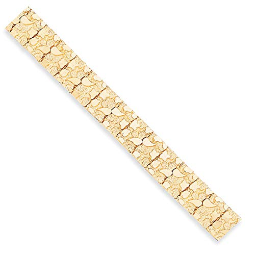 - 15mm 14k Yellow Gold Nugget Link Bracelet, 8 Inch