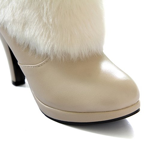 Boots 1TO9 Platform Imitated Spun Bowknot Ladies Stiletto Beige Leather Gold qwpfTw