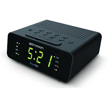 "Emerson CKS1800 SmartSet Alarm Clock Radio with AM/FM Radio, Dimmer, Sleep Timer and .9"" LED Display"