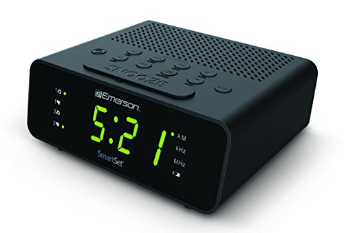 "Emerson CKS1800 SmartSet Alarm Clock Radio with AM/FM Radio, Dimmer, Sleep Timer and .9"" LED Display"
