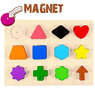Wooden Educational Magnetic Shape Puzzle - Learn Colors & Shape Recognition Toy – Toddler Preschool Game – Kids Montessori Education