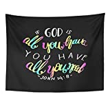 TOMPOP Tapestry Colorful Believe If God Is All You Have Need Lettering Bible Verse Modern Calligraphy Christian Black Home Decor Wall Hanging for Living Room Bedroom Dorm 60x80 Inches