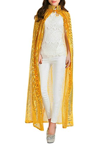 Halloween Party Festival Magic Cosplay Sequin Glitter Costume Bling Cloak Cape Robe Coat Shawl Outwear Gold -