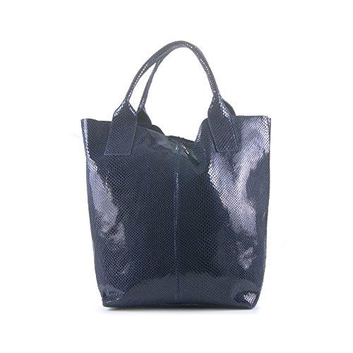 Bolso shopping bag de mujer piel auténtica. FIRENZE ARTEGIANI. Bolso de hombro,piel grabado serpiente lacado brillo.Monedero a juego. MADE IN ITALY. VERA PELLE ITALIANA. 40x36x17 cm. Color: NEGRO AZUL MARINO
