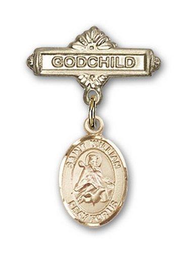 Icecarats Or Bijoux De Créateurs Rempli R. William De Rochester Charme Filleul Broche De Badge 1 X 5/8
