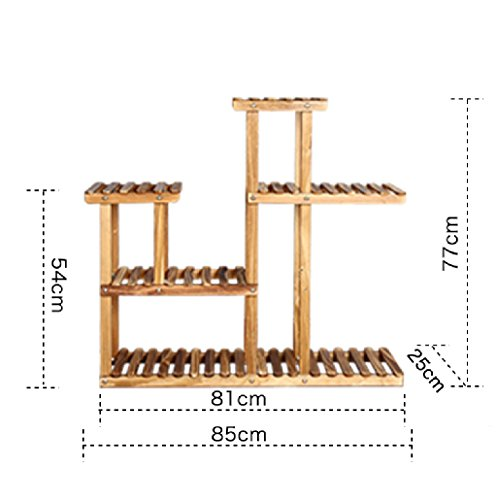 Flower Racks Solid Wood Floor - Style Living Room Bonsai Rack Indoor Multi - Layer Assembly Pots Shelf LWH: 852577cm ( Color : Pulley ) by LITINGMEI Flower rack