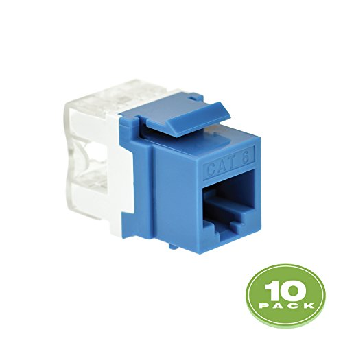 Mediabridge Cat6 Keystone Jack (Blue) - Punch-Down RJ45 Insert for Keystone Wall Plate - 10 Pack  (Part# 51J-C6-BLU-10PK ) ()