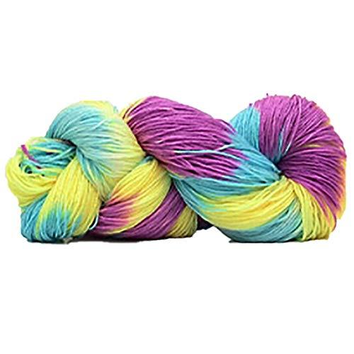 Organic Cotton Yarn - Mix Colored Knitting Crocheting Thread Hand Super Soft Acrylic Anti Pilling Fibre Dyed Yarn - Medium Rayon Cones Size Hook Types Ribbon Blue Black Knit Bamboo ()