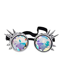Oudeer Vintage Rustic Cyber Kaleidoscope Goggles Steampunk Welding Goth Cosplay Punk Glasses (Silver Frame)