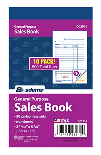 e Sales Book, 2-Part, Carbonless, White/Canary, 3-11/32
