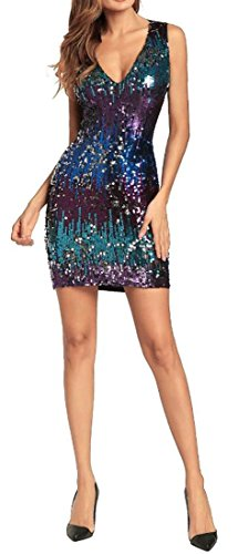 Neck Dress Cruiize Sleeveless Sequins V Purple Womens Sexy Bodycon Evening ww8vIq