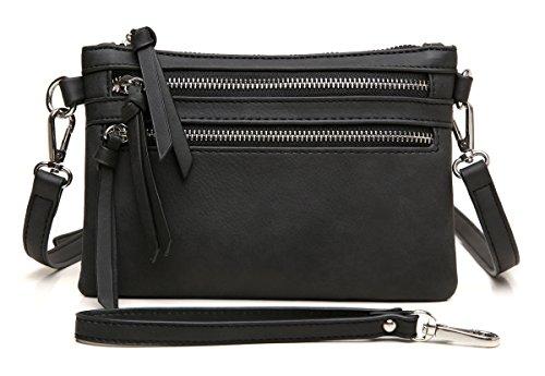 Pocket Zipper Crossbody Handbag Black Clutch Wristlet Lightweight Aitbags Multi Purse Functional Bw7qTqCxS