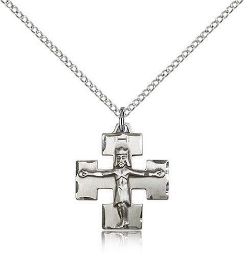 Icecarats Créatrice De Bijoux En Argent Sterling Pendentif Crucifix Moderne 3/4 X 5/8 Pouces