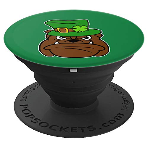Leprechaun Bulldog St. Patrick's Day Shamrock Animal Lover - PopSockets Grip and Stand for Phones and Tablets