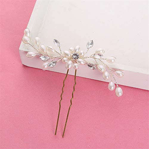 Lessonmart Wedding Clips Romantic Crystal Pearl Flower Rhinestone Tiara Bridal Crown Hair Pins Bride Hair Jewelry Accessories