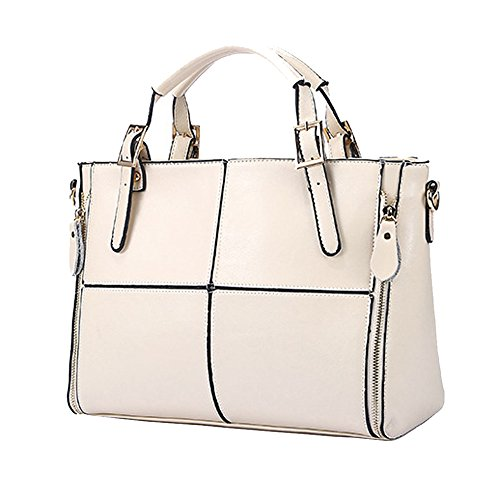 Kingfansion Fashion Ladies Leather Travel Bags Shoulder Messenger Bags School Bags Handbags Briefcases Purses Laptop Bags (White) by Kingfansion