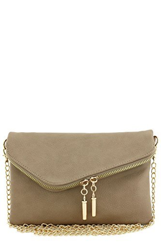 Envelope Wristlet Clutch Crossbody Bag with Chain Strap (Dark Brick)
