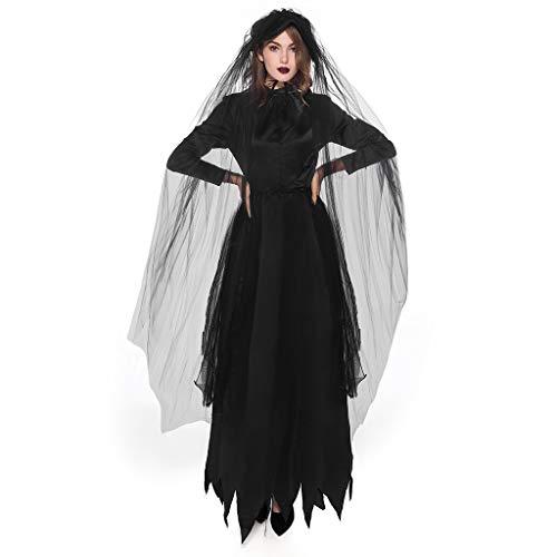 Goddessvan 2019 Women Novelty Halloween Cosplay Sexy Slim Black Blood Suck Lace Earl Dress